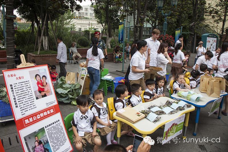 凯星幼儿园的爱心小使者们用有机蔬菜表达爱
